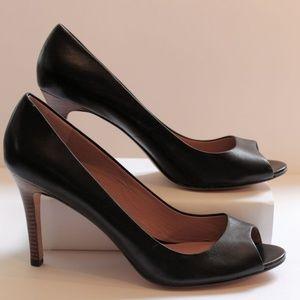 Ann Taylor Perfect Peep Toe Black Leather Pumps